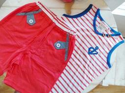 【班比納精品童裝】船錨條紋背心上衣海軍風套裝-紅【E171584466】