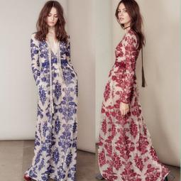 2769#澳洲品牌重工藍色花卉刺繡氣質修身深V領連衣裙度假網紗長裙