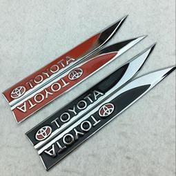 汽車豐田TOYOTA個性改裝新款刀鋒葉子板金屬側標貼車身貼