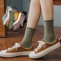 老闆不賣了!秋冬日系卷卷邊堆堆襪 ins精梳棉純色中筒襪 棉質 純色 素面 素色 女襪 長統襪 中長襪 襪子-杜達女孩