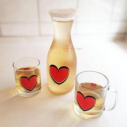 【Daylight】現貨特價-愛心圖案玻璃冷水壺1000cc玻璃瓶/ 玻璃杯/ 玻璃壺/ 果汁壺/ 茶水壺/ 水瓶