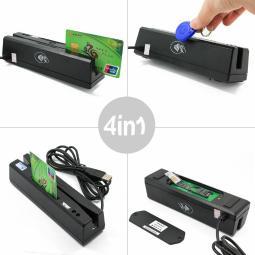 ZCS160 4-in-1 Magnetic Stripe Card Reader + EMV/IC Chip/RFID/PSAM Reader Writer