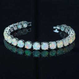 White Fire Opal Bracelet Round Sterling Silver Precious
