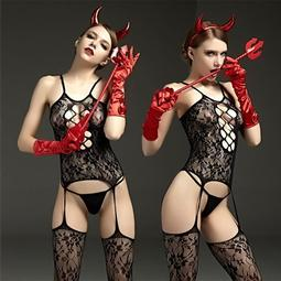 *情趣連身絲襪衣服透明騷性感高跟黑絲吊襪帶極度誘惑開檔連體網襪