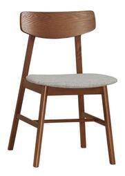 【風禾家具】FQM-1060-12@MBL曲木胡桃色布墊餐椅【台中1600送到家】休閒椅 書椅 棉麻布+實木腳座 傢俱