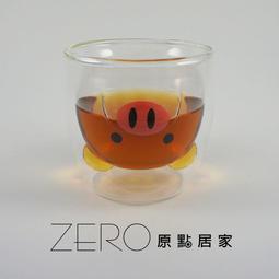 【原點居家創意】可愛紅鼻豬豬無鉛雙層隔熱玻璃咖啡杯拿鐵杯耐熱牛奶杯果汁杯玻璃杯花茶杯耐熱杯(200cc)