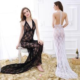 【限時八折特惠!!】 透視禮服 洋裝 蕾絲掛脖連身裙超長禮服性感晚會演出紅地毯