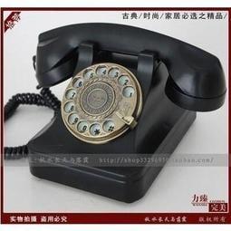 歐式複古電話機 家用古典旋轉盤電話機 創意古董撥號仿古電話機黑色【淺淺時光】
