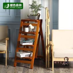 伸縮梯 實木梯凳家用折疊梯子省空間多功能加厚梯椅兩用室內登高三步台階T 3色--艾薇塔家居