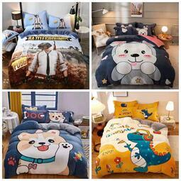 【可愛小熊 熊】水晶絨 兒童法蘭絨KT貓 床包 單人 雙人 加大 特大 床包組 床單 被套/ 四件組色三件組/ / 舒柔棉/ 純