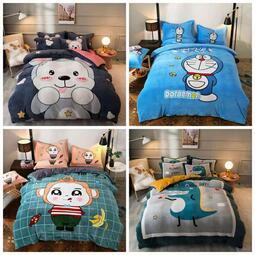 【可愛小熊咦】水晶絨 兒童法蘭絨KT貓 床包 單人 雙人 加大 特大 床包組 床單 被套/ 四件組色三件組/ / 舒柔棉/ 純棉