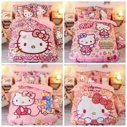 【凱蒂貓】水晶絨 兒童法蘭絨KT貓 床包 單人 雙人 加大 特大 床包組 床單 被套/ 四件組色三件組/ / 舒柔棉/ 純棉