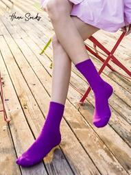 (快速出貨)韓國進口東大門BENE SOX純色糖果色簡約螺紋堆堆襪女百搭春秋款