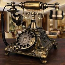 歐式仿古電話機美式復古家用辦公座機田園時尚創意旋轉盤無線插卡  露天拍賣