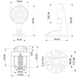 現貨●1258L壁裝監控鋁合金半球支架通用款無線半球攝影機支架海螺支架