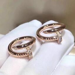 Cartier 卡地亞 韓國風鑲鑽釘子元素鈦鋼戒指/ 鋯石戒指 開口可調節 簡約個性百搭食指指環  潮流情侶對戒 防過敏